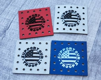 Support Our Troops Flag Faux Leather Patch!  Knit Hat Patch!  Crochet Beanie Patch!  Cup Cozy Patches!  Coffee Mug! America! Solider