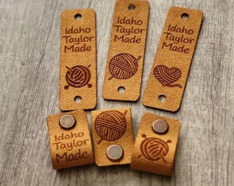 """20 Tawny Ultrasuede Tag  .85"""" x 2.75""""  Knit hat tags! Crochet beanie label! CUSTOM Tags!  Chicago Screws !   PERSONALIZE! Branding labels"""