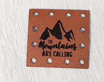 The Mountains are Calling  Leather Crochet Knitting Sewing Patches Beanie Patch -  3 Sizes to choose Knit Hat Patches Product tags