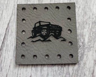 Jeep Image  Faux Leather Patch!  Blanket Patches! Knit Hat Patch!  Crochet Beanie Patch!  Cup Cozy Patches!  Jeep!  Moab!  Trail!