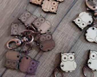 Stitch Markers Owl Print! Progress Marker! Bag Accessories! Crocheting place keeper! Set of 6! Owl crochet holder Owls Stitch Markers!