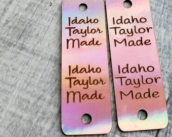 """20 Blush Holographic Faux Leather Tag! Crochet Head Wrap Tag!   .85"""" x 2.50"""" Your Text!  Beanie Product Tag! Knit Hat Tag! Beanie!"""