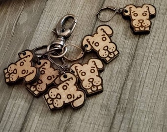Stitch Markers Dog! Progress Marker! Bag Accessories! Crocheting place keeper! Set of 6! Dog crochet holder! Puppy Stitch Markers!