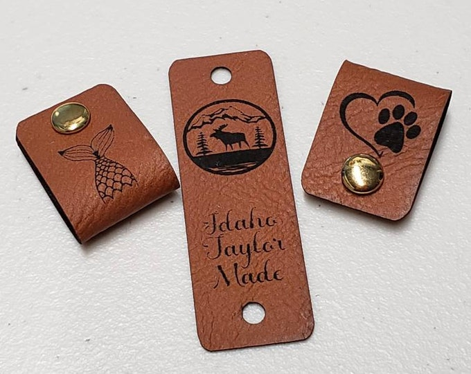 """Featured listing image: Chestnut Faux Leather Tag .85"""" x 2.50"""" Knit hat tags! Crochet beanie label! CUSTOM Tags! Snap Rivets! Sewing labels! PERSONALIZE Blanket Tag"""