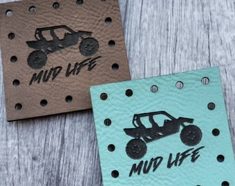 Side by Side.  Mud Life PATCHES Faux Leather Patch!  Knit Hat Patch!  Crochet Beanie Patch!  Cup Cozy Patch! Blanket Patches!