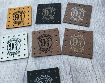 Wizard H Express Faux Leather Patch!  Knit Hat Patch!  Crochet Beanie Patch!  Cup Cozy Patches!  Coffee Mug! HP!