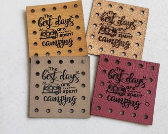 Faux Leather CAMPING Patch!  Blanket Patches! Knit Hat Patch!  Crochet Beanie Patch!  Cup Cozy Patches!  Vegan Patches!  Best Days Camper!