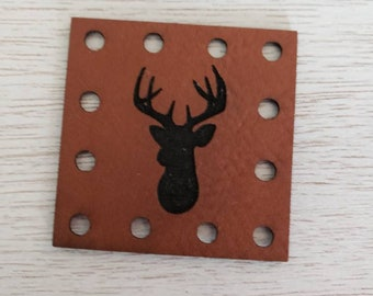 Deer Silhouette Head Faux Leather Patch Blanket Patches! Knit Hat Patch!  Crochet Beanie Patch!  Cup Cozy Patches!  Vegan Patches!