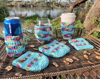 Milner Drinks Set Travel Mug, Can Cozy and Stemless Wine Glass Cozy  Crochet Pattern PDF Digital File