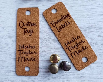 """20 Caramel Ultrasuede Tag  .85"""" x 2.75""""  Knit hat tags! Crochet beanie label! CUSTOM Tags!  Chicago Screws !   PERSONALIZE! Branding labels"""