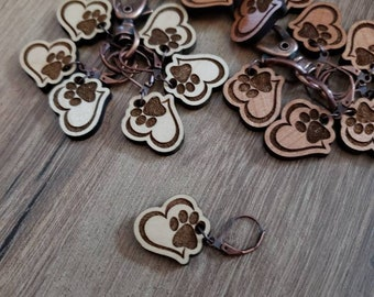 Stitch Markers Heart Paw Print! Progress Marker! Bag Accessories! Crocheting place keeper! Set of 6! Paw crochet holder Paw Stitch Markers!