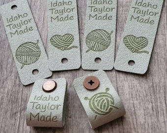 """20 Sea Sky Ultrasuede Tag  .85"""" x 2.75""""  Knit hat tags! Crochet beanie label! CUSTOM Tags!  Chicago Screws !   PERSONALIZE! Branding labels"""