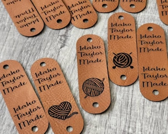 """Chestnut/Black Faux Leather Tag  .85"""" x 2.50""""  Knit hat tags! Crochet beanie label! CUSTOM Tags! Round Edges! Sewing labels!  PERSONALIZE"""