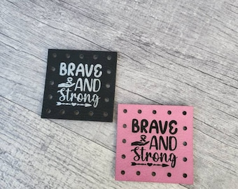 Brave and Strong Survive Patches Faux Leather Patch! Knit Hat Patch! Crochet Beanie Patch!  October Cancer Awareness! Cancer Ribbon