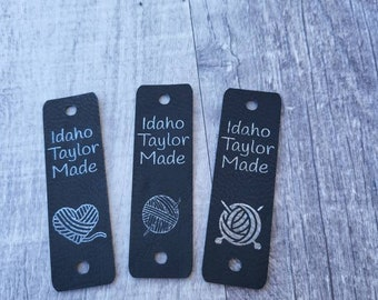 """Black/Silver Faux Leather Tag 85"""" x 2.75""""  Knit hat tags! Crochet beanie label! CUSTOM Tags!  Branding Labels!  Sewing labels! PERSONALIZE"""