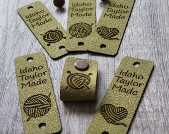 """20 Fern Ultrasuede Tag  .85"""" x 2.75""""  Knit hat tags! Crochet beanie label! CUSTOM Tags!  Chicago Screws !   PERSONALIZE! Branding labels"""