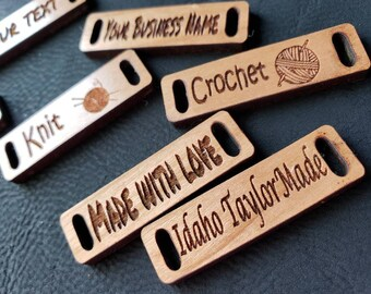 """20 - 0.5"""" x 1.75"""" Wood Tag!  Product Tag! Your Business Name! Brand Label! Beanie Tag! Hat Tag! Cup cozy Tag Crochet Hat Tags! Knit Tag"""