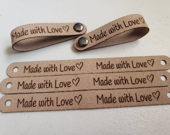 """Tan Set of 20 MADE with LOVE Suede Tags .50 x 5.0"""" Made with Love!   Knit Hat Tag! Crochet beanie Tags! Pocket Tags! Heart!"""