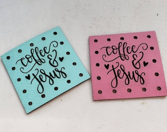 Faux Leather JESUS Design Label Crochet Knitting Sewing Tags Cup Cozy patch Patches COFFEE Knit Cozy! Crochet  Patches