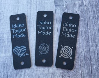 """T Black/Silver Faux Leather Tag 85"""" x 2.75""""  Knit hat tags! Crochet beanie label! CUSTOM Tags!  Branding Labels!  Sewing labels! PERSONALIZE"""