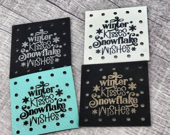 Winter kisses Snowflake Wishes PATCHES Faux Leather Patch!  Knit Hat Patch!  Crochet Beanie Patch!  Cup Cozy Patch!  Christmas!