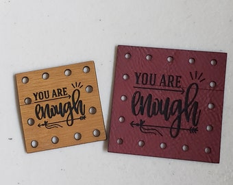 You Are Enough Faux Leather Blanket Patches! Knit Hat Patch!  Crochet Beanie Patch!  Cup Cozy Patches!  Vegan Patches! Inspirational!