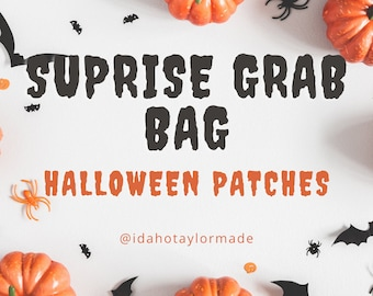 HALLOWEEN theme Patches!  Surprise Grab Bag!  15 Patches!  Colors, sizes, images, sayings vary!