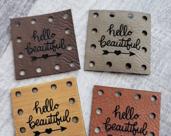 Hello Beautiful Faux Leather Patch! Plant Cozy Patch!  Knit Hat Patch!  Crochet Beanie Patch!  Cup Cozy Patches!  Product Labels!