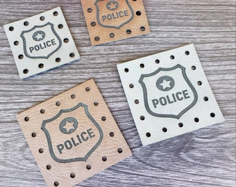 Police Department Faux Leather Patches! Product Tags! Crochet Beanie Tags! Knit Hat Labels! Cozy Tags! With or without holes! Basket Patches