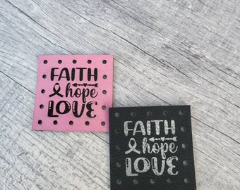 Faith Hope Love Faux Leather Patch! Knit Hat Patch! Crochet Beanie Patch!  October Cancer Awareness! Cancer Ribbon