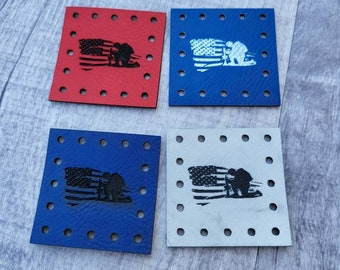 Solider American Flag Faux Leather Patch!  Knit Hat Patch!  Crochet Beanie Patch!  Cup Cozy Patches!  Coffee Mug! America!