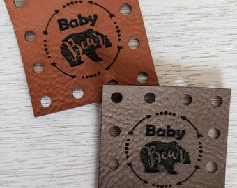 Baby Bear Faux Leather Patch!  Blanket Patches! Knit Hat Patch!  Crochet Beanie Patch!  Cup Cozy Patches!  Vegan Patches!