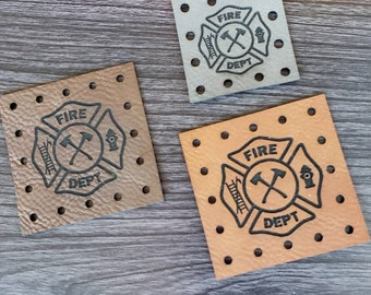 Fire Department Faux Leather Patches! Product Tags! Crochet Beanie Tags! Knit Hat Labels!  Cozy Tags!  With or without holes! Basket Patches