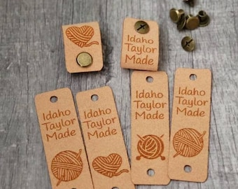 """20 Sand Ultrasuede Tag  .85"""" x 2.75""""  Knit hat tags! Crochet beanie label! CUSTOM Tags!  Chicago Screws !   PERSONALIZE! Branding labels"""