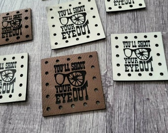 You'll Shoot Your Eye Out  PATCHES Faux Leather Patch!  Knit Hat Patch!  Crochet Beanie Patch!  Cup Cozy Patch!  Christmas!