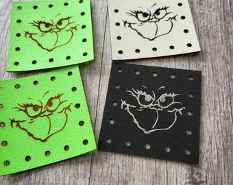 Grinch Face  PATCHES Faux Leather Patch!  Knit Hat Patch!  Crochet Beanie Patch!  Cup Cozy Patch!  Christmas!