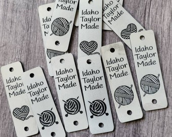 """T White Marble/Black Faux Leather Tag 85"""" x 2.75""""  Knit hat tags! Crochet beanie label! CUSTOM Tags!  Branding Labels! PERSONALIZE"""