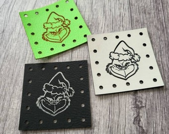 Grinch Face Stocking Hat PATCHES Faux Leather Patch!  Knit Hat Patch!  Crochet Beanie Patch!  Cup Cozy Patch!  Christmas!
