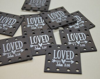 Loved John 3:16  Faux Leather Patch!  Blanket Patches! Knit Hat Patch!  Crochet Beanie Patch!  Cup Cozy Patches!  Vegan Patches! Religious!