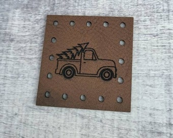 Christmas Tree Truck PATCHES Faux Leather Patch!  Knit Hat Patch!  Crochet Beanie Patch!  Cup Cozy Patch!  Country Farm Truck