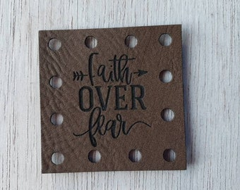 Faith over Fear   Faux Leather Crochet Knitting Sewing Patches Beanie Patch -- 3 Sizes to choose Knit Hat Patches Product tags