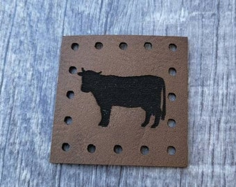 Cow PATCHES Faux Leather Patch!  Knit Hat Patch!  Crochet Beanie Patch!  Cup Cozy Patches!   Farm Animals! Country! Animal!