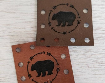 Bear Faux Leather Patches  Blanket Patches! Knit Hat Patch!  Crochet Beanie Patch!  Cup Cozy Patches!  Vegan Patches!