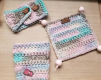 Make Mine A Double Bundle Travel Mug Cozy Coffee Cup Cozy Mug Rug Crochet Pattern PDF Digital File