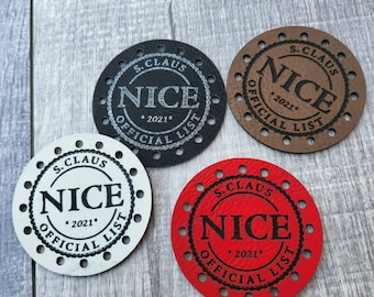 S. Claus 2021  NICE Official List PATCHES Faux Leather Patch!  Knit Hat Patch!  Crochet Beanie Patch!  Christmas! Holidays! Winter! Cup Cozy