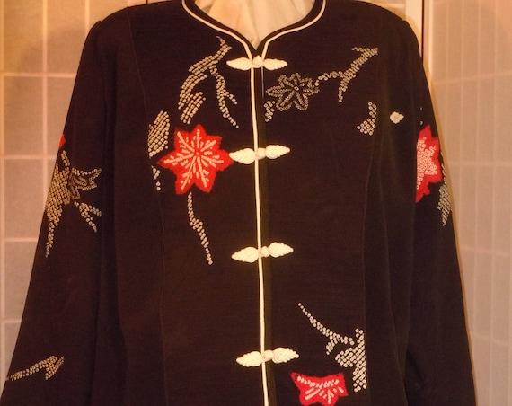 """Plus size Black silk jacket """"Shibori flowers"""" from vintage kimono, Special Occasion, XXL blazer #F63"""