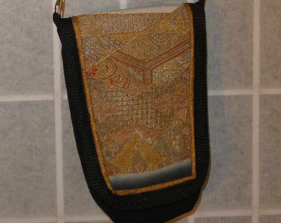 Silk messenger bag made hand embroidery from vintage Japanese kimono. Small lined pouch black, tan, gold #B94