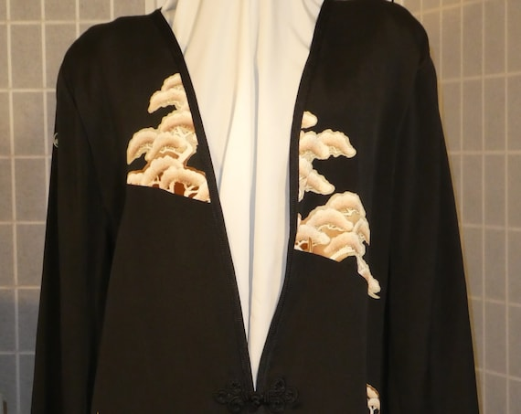 "Black and tan silk jacket ""Asian trees"" duster Mother of the Bride outfit from Japanese kimono silk Plus Size XXL #L86"