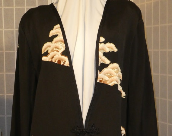 "Black and tan silk jacket ""Asian trees"" duster from Japanese kimono silk Plus Size XXL #L86"