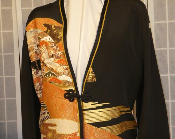 "Black and gold silk jacket ""Cranes and fans"" duster from Japanese kimono silk Size Medium #L78"
